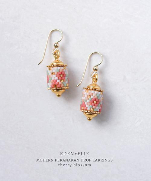 EDEN + ELIE Modern Peranakan Drop Earrings in Cherry Blossom, $180