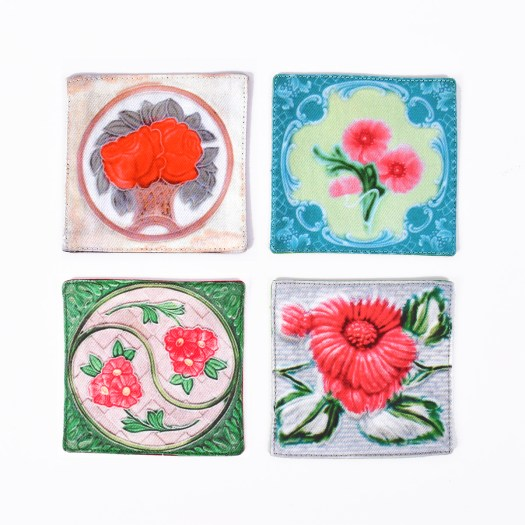 Onlewo Peranakan Floral Tile Coasters Set A, $22
