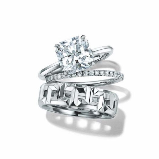 Middle: Tiffany Metro Ring in Platinum with Diamonds ($3750), Bottom: Tiffany T True Wide Ring in 18k White Gold ($2,200)