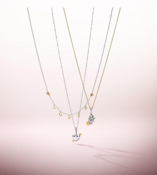 Shine Loved Script Necklace ($159), Shine Arrow of Love Dangle Charm ($149), Cupid & You Dangle Charm ($99)