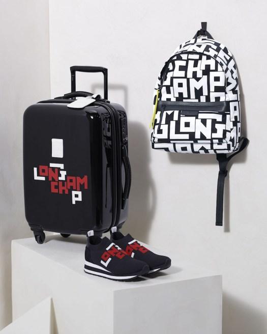 Le Pliage Cuir LGP Wheeled Suitcase, $950 ; Le Pliage LGP Backpack, $475 ; Le Pliage Cuir LGP Sneakers, $430