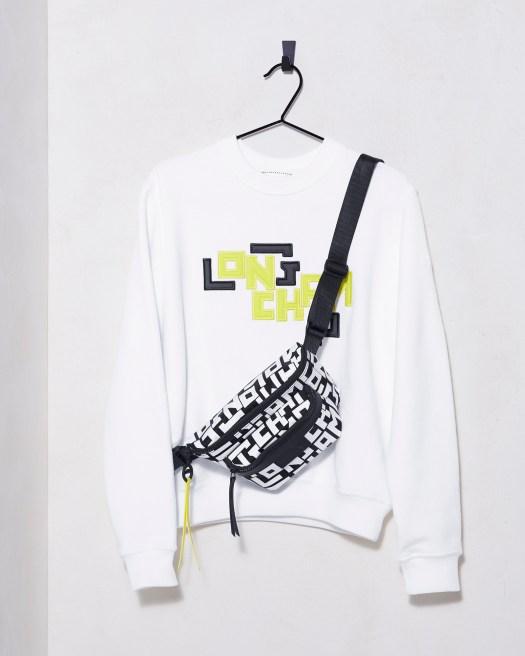 Le Pliage LGP Balt Bag S Black/White, $360 ; LGP Sweatshirt White, $360