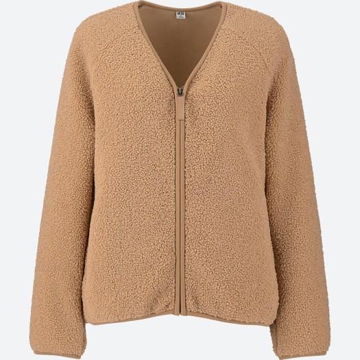 Women's Pile Lined Fleece V Neck Long Sleeve Cardigan in 31, $49.90
