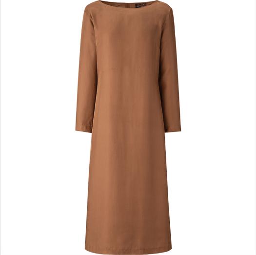 Hana Tajima Silk Blended Long-Sleeved Long Dress, $129.90
