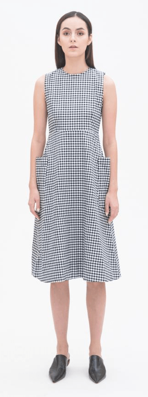 Double Pocket Mid Length Dress in Checked, $99