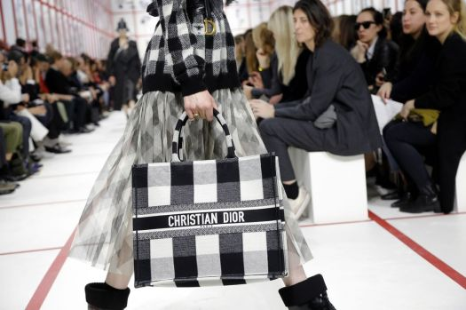Dior Book Tote in off-white and black embroidered canvas