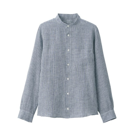 French Linen Washed Stand Collar Shirt $59