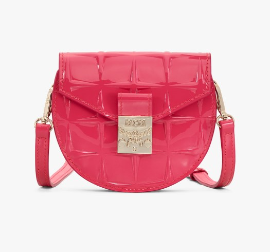 MCM Patricia Diamond Patent Round Bag in Teaberry $580