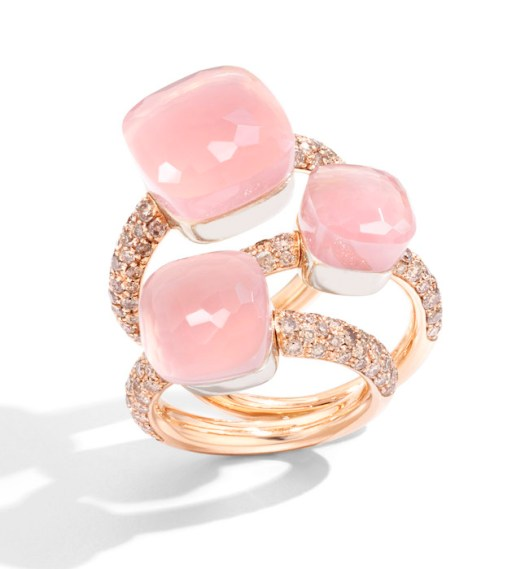 Pomellato Nudo Classic Rings in Rose Gold with Rose Quartz and Brown Diamonds