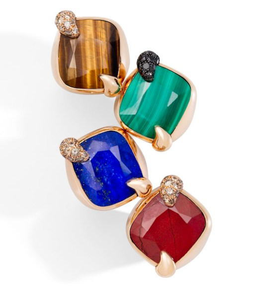 Pomellato Ritratto Rings in Rose Gold with Tiger's Eye, Malachite, Lapis Lazuli, Jasper, and Brown Diamonds or Onyx