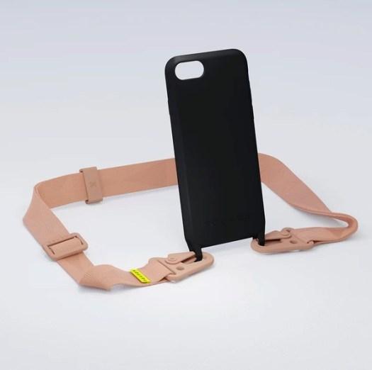 XOUXOU Modular Black Phone Case Black with Powder Pink Lanyard $134