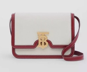 BURBERRY Small Two-Tone Canvas & Leather TB Bag $2,850