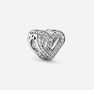 Pandora Sparkling Freehand Heart Charm $89