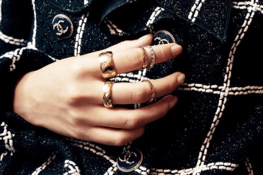 CHANEL COCO CRUSH Medium Ring in 18K Yellow Gold $4,650, CHANEL COCO CRUSH Small Ring in 18K Yellow Gold $3,400, CHANEL COCO CRUSH Mini Ring in 18K Yellow Gold $1,800, CHANEL COCO CRUSH Mini Ring in 18K BEIGE GOLD $1,900, CHANEL COCO CRUSH Mini Ring in 18K White Gold with Diamonds $4,750