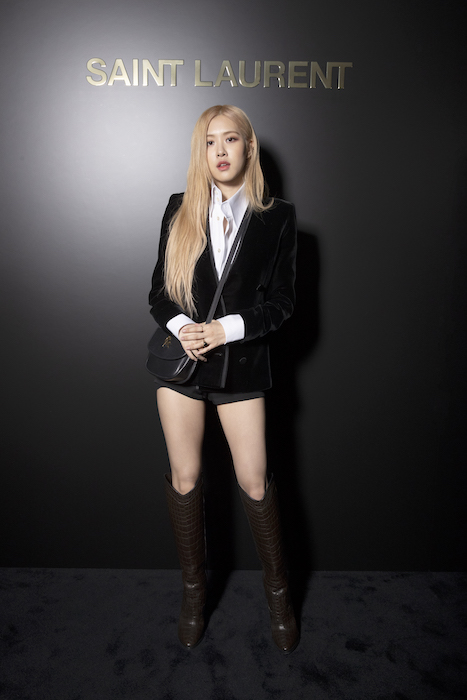 Rosé of Blackpink with Saint Laurent Kaia Small Satchel in Black Smooth Leather