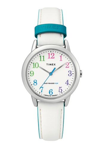 Timex Easy Reader® Color Pop 30mm in Silver-Tone Case with White Strap, $124.39