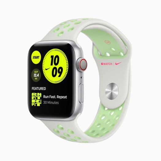 Apple Watch Series 6 Aluminum Silver Case with Nike Watch White/Green Band