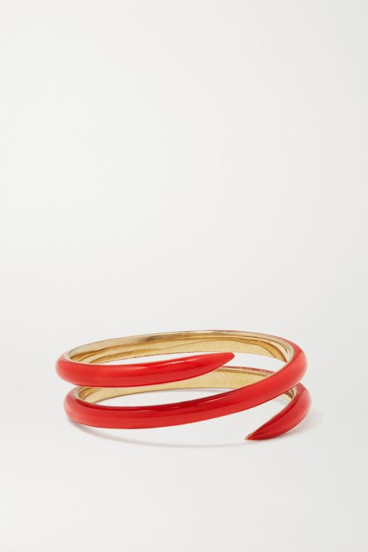 ALISON LOU Coil 14-karat gold and enamel ring, US$1,051