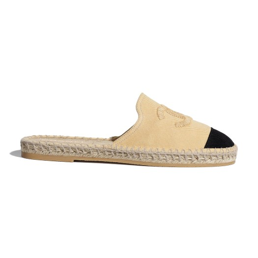 Beige and black espadrilles in denim