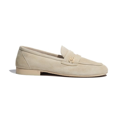 Beige loafers in suede