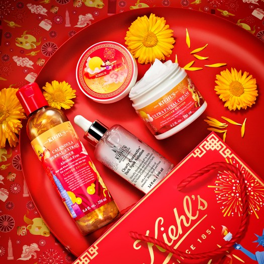 KIEHL'S LUNAR NEW YEAR ULTRA FACIAL CREAM ($98), CALENDULA HERBAL-EXTRACT TONER ($59), CLEARLY CORRECTIVE DARK SPOT SOLUTION SUPER JUMBO ($180) | To welcome the Year of the Ox, Kiehl's introduces the character of Moxie, and depicts scenes of him and his family gathering gifts from the Kiehl's store in NYC in order to share the festive spirit across the world — all on limited edition versions of their bestselling products, of course. The Calendula toner and Ultra Facial Cream in particular are great to calm parched and irritated skin.