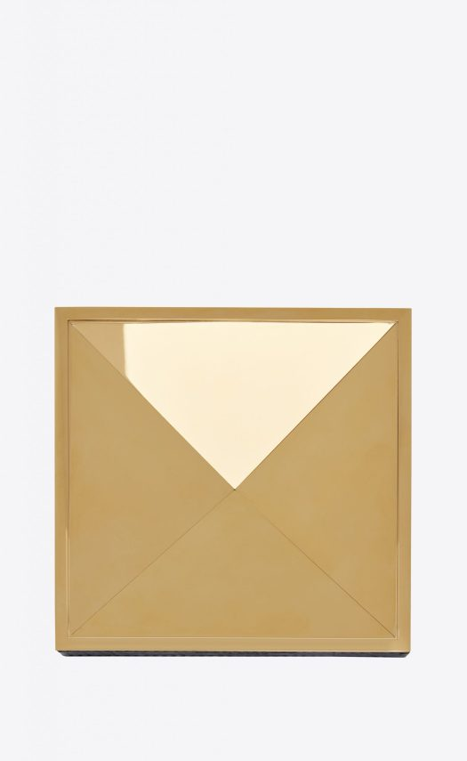 PYRAMID PIN TRAY IN METAL AND CROCODILE EMBOSSED LEATHER, $1,880