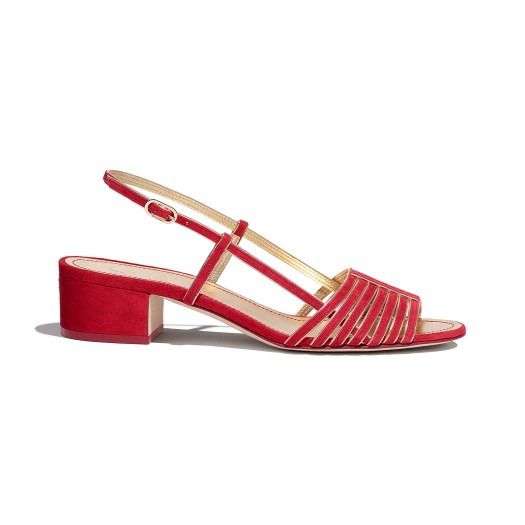 Red and gold sandals in suede