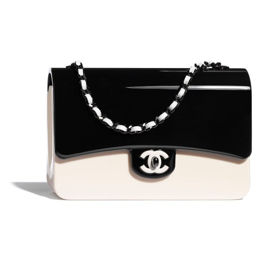 White and black bag in plexiglas