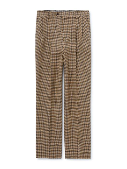 CELINE HOMME DOUBLE PLEATED SKATE TROUSERS IN WOOL HOUNDSTOOTH FABRIC