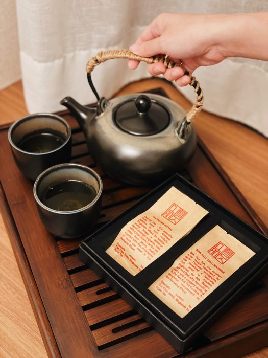 The Nanyang Ritual blend is also available in the welcome amenity kit with some cookies.