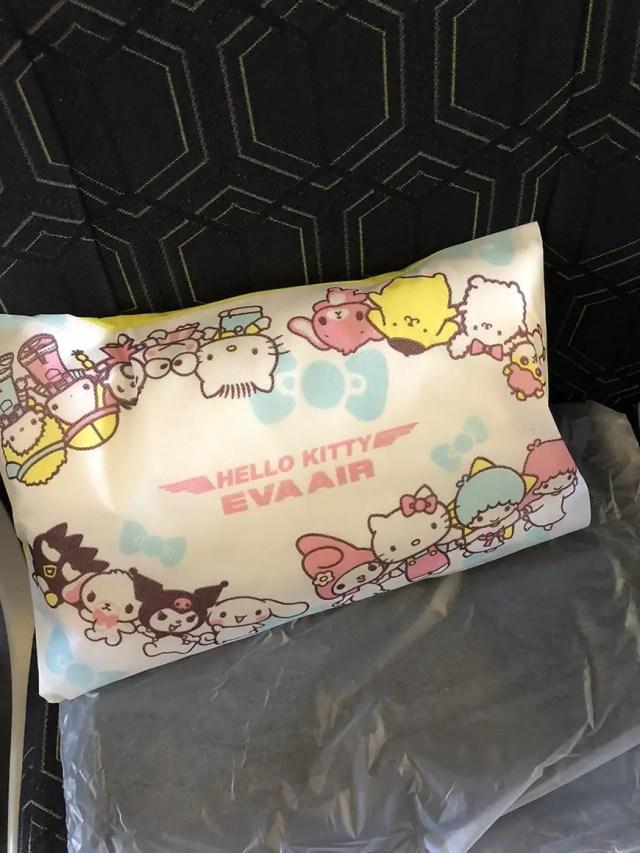 eva air hello kitty flight pillow