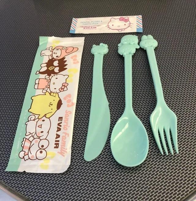 eva air hello kitty flight utensils