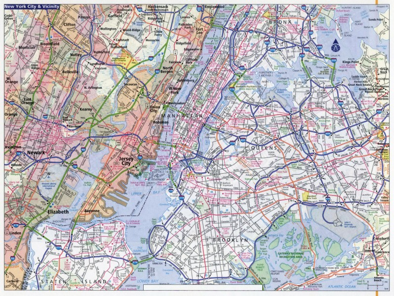 Large detailed road map of New York city  New York city large     Large detailed road map of New York city  New York city large detailed road  map