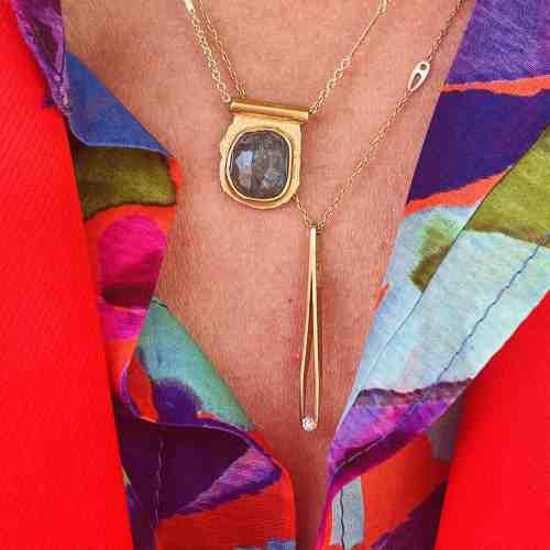Collier Amulette Nynybird Tourmaline Bleu Lagon