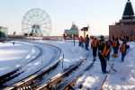 Transit workers clear tracks near Coney Island that were covered by snow during the December 2010 blizzard.