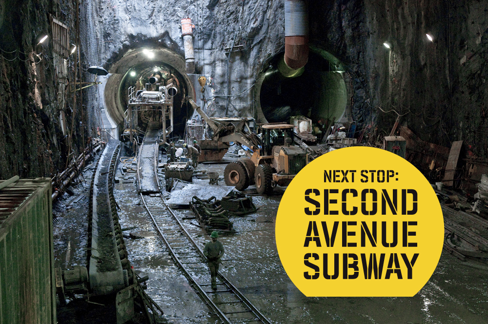 """Image of Second Avenue Subway tunnels with construction workers; """"Next Stop: Second Avenue Subway"""" overlaid in black text in a yellow circle."""