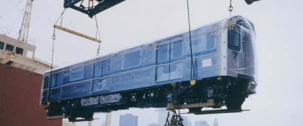 """R110A """"New Technology"""" cars, arriving New York via ship in October 1992."""