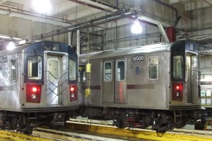 Trains in shop at 239th Street