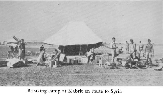 Breaking Camp at Kabrit en route to Syria