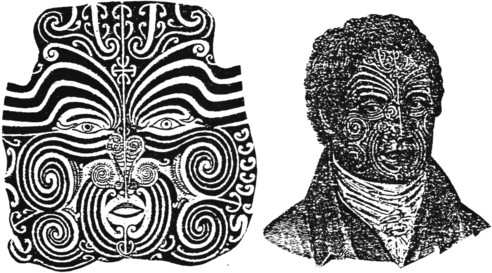 "Reproduced from ""Moko; or Maori Tattooing"" figs 10 and 114."