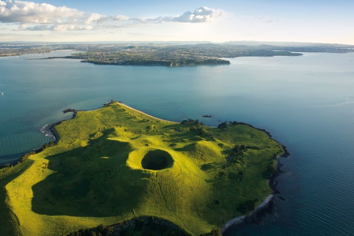 The verdant cone of Brown's Island/Motokorea in Waitemata Harbour. Courtesy of National Geographic