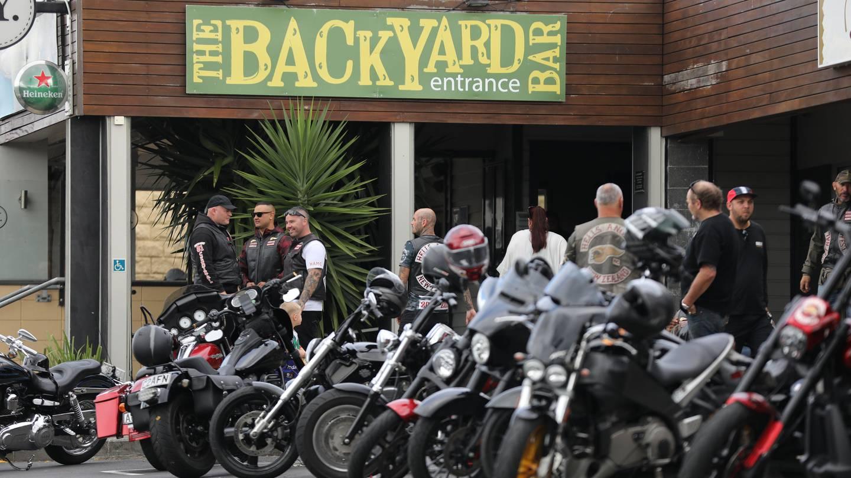 Bikies gathering at the Backyard Bar and Restaurant on Northcote Rd today. Photo / Hayden Woodward