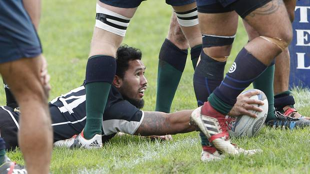 Pirates winger Elijah Ah Chong looks up for confirmation he has scored the opening try of his team's narrow victory over Ruapehu on Saturday.