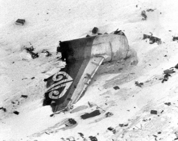 Wreckage from the Air New Zealand DC-10 after it crashed on Mt Erebus in Antarctica.