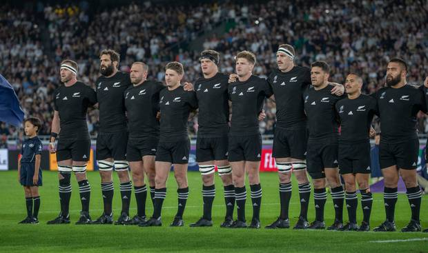 The All Blacks sing the national anthem before their Rugby World Cup semi-final match against England, in Japan. Photo / Mark Mitchell