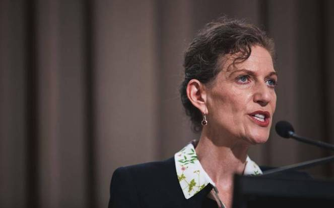 NZ Security Intelligence Service director Rebecca Kitteridge speaks after the release of the final report by the Royal Commission of Inquiry. Photo / RNZ / Sam Rillstone