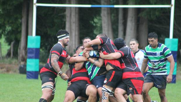 No way through for Ruapehu's Te Uhi Hakaraia against the Taihape defence at Rochfort Park on Saturday. Photo by Merrilyn George.