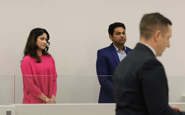 Nafisa Ahmed and Mohammed Atiqul Islam listen as Crown prosecutor Jacob Parry address the court. Photo / Sam Hurley