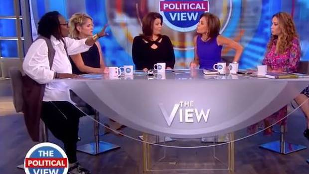 Whoopi Goldberg, far left, and Jeanine Pirro, fourth from left, get into their heated argument on The View.