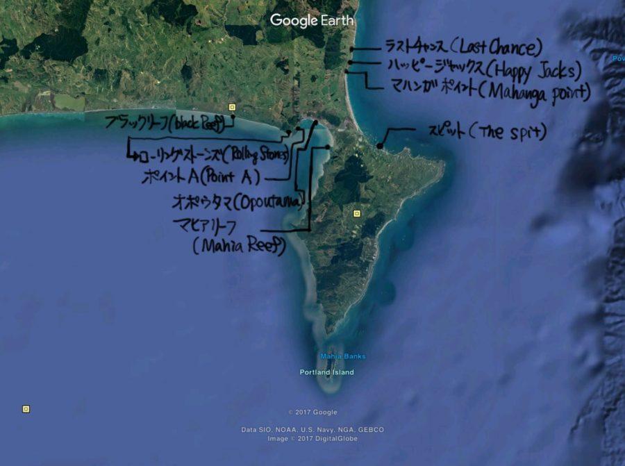 ニュージーランド、マヒアのサーフスポット地図詳細